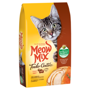 Meow Mix Tender Centers Salmon & Turkey Flavors With Vitality Bursts