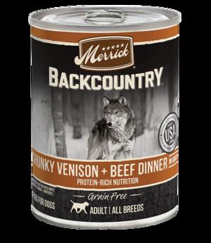 Merrick Backcountry Grain Free Chunky Venison + Beef Dinner In Gravy