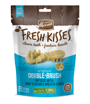 Merrick Fresh Kisses Double-Brush Mint-Flavored Breath Strips For Extra Small Dogs