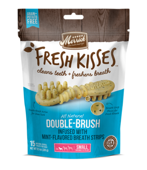 Merrick Fresh Kisses Double-Brush Mint-Flavored Breath Strips For Small Dogs