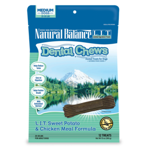 Natural Balance Dental Chews L.I.T. Sweet Potato & Chicken Meal Formula - Medium To Large