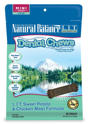 Natural Balance Dental Chews L.I.T. Sweet Potato & Chicken Meal Formula - Mini