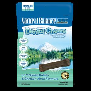 Natural Balance Dental Chews L.I.T. Sweet Potato & Chicken Meal Formula - Small