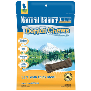 Natural Balance Dental Chews L.I.T. With Duck Meal - Small