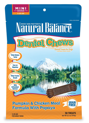 Natural Balance Dental Chews Pumpkin & Chicken Meal Formula With Papaya - Mini
