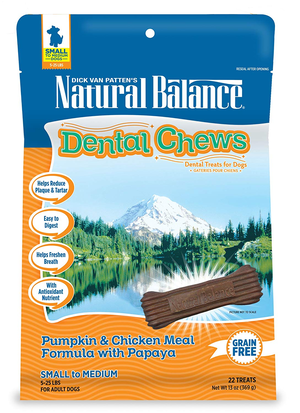 Natural Balance Dental Chews Pumpkin & Chicken Meal Formula With Papaya - Small
