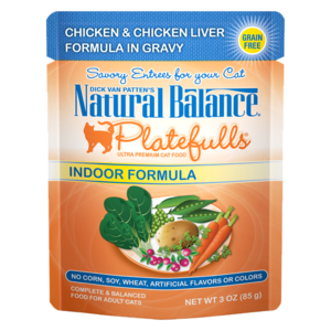 Natural Balance Platefulls Indoor Formula - Chicken & Chicken Liver Formula In Gravy