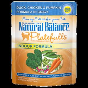 Natural Balance Platefulls Indoor Formula - Duck, Chicken & Pumpkin Formula In Gravy
