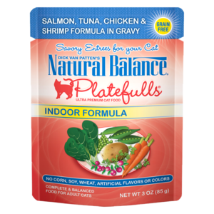 Natural Balance Platefulls Indoor Formula - Salmon, Tuna, Chicken & Shrimp Formula In Gravy