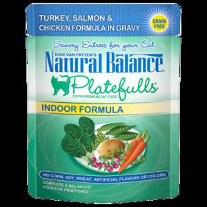Natural Balance Platefulls Indoor Formula - Turkey, Salmon & Chicken Formula In Gravy