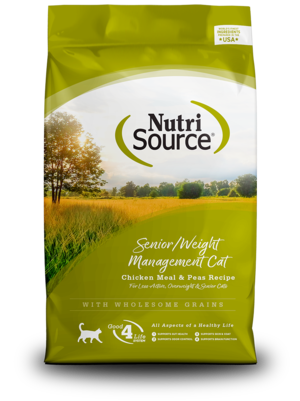 NutriSource Dry Cat Food Senior / Weight Management - Chicken Meal & Peas Formula