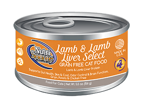 NutriSource Grain Free Cat Food Lamb & Lamb Liver Select