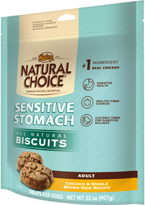 Nutro Natural Choice Sensitive Stomach Biscuits Chicken & Whole Brown Rice Recipe For Adult Dogs