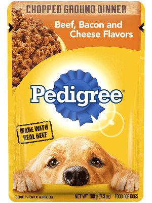 Pedigree Chopped Ground Dinner Beef, Bacon and Cheese Flavors