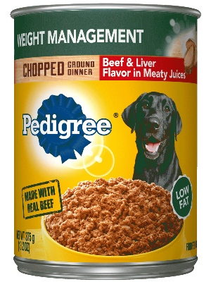 Pedigree Weight Management Chopped Ground Dinner Beef & Liver Flavor In Meaty Juices
