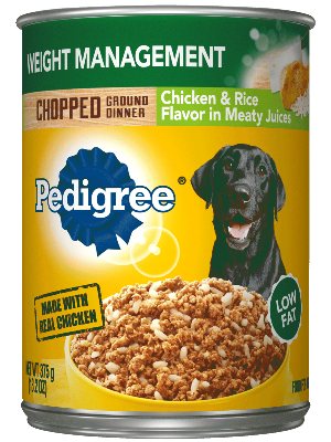 Pedigree Weight Management Chopped Ground Dinner Chicken & Rice Flavor In Meaty Juices