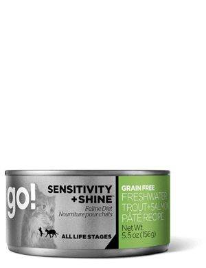 Petcurean Go! Sensitivity + Shine Grain Free Freshwater Trout + Salmon Pate Recipe For Cats