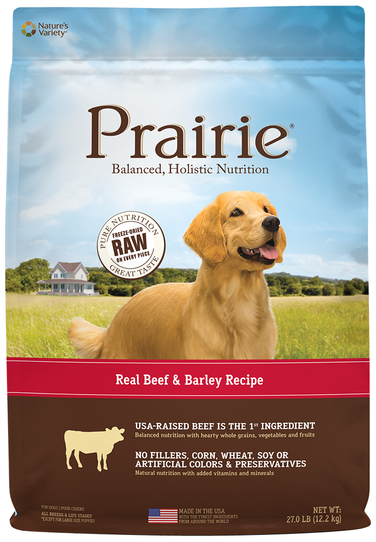 Nature's Variety Prairie Kibble For Dogs Real Beef & Barley Recipe