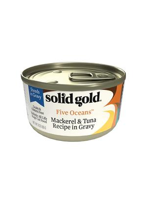Solid Gold Five Oceans Mackerel & Tuna Recipe in Gravy