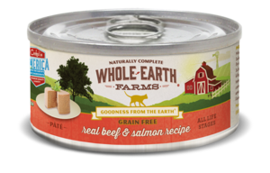 Whole Earth Farms Grain Free Canned Real Beef & Salmon Recipe Pate